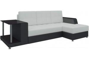 Угловой диван Атланта Белый/Черный (Экокожа)