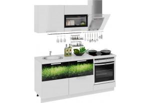 Кухонный гарнитур длиной - 180 см (со шкафом НБ) Фэнтези (Белый универс)/(Грасс)