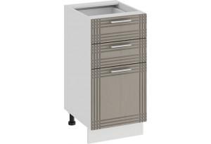 Шкаф напольный с тремя ящиками «Ольга» (Белый/Кремовый)