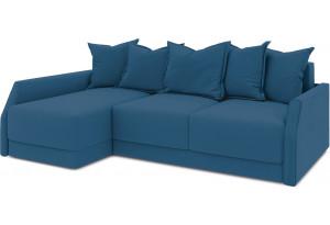 Диван угловой левый «Люксор Slim Т2» (Beauty 07 (велюр) синий)