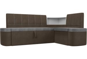 Кухонный угловой диван Тефида Серый/коричневый (Рогожка)