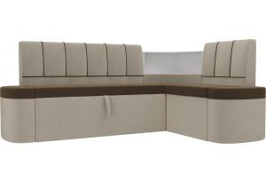 Кухонный угловой диван Тефида Коричневый/Бежевый (Микровельвет)