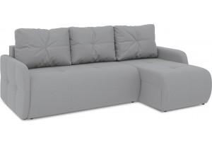 Диван угловой правый «Томас Slim Т1» (Poseidon Grey (иск.замша) серый)