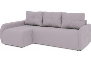 Диван угловой левый «Томас Slim Т2» (Poseidon Pale Lavender (иск.замша) бледно-лавандовый)