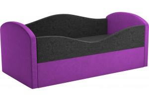Детская кровать Сказка черный/фиолетовый (Микровельвет)