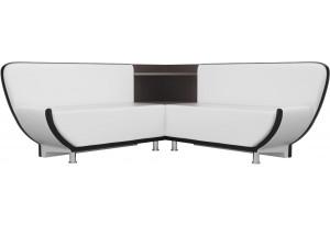 Кухонный угловой диван Лотос Белый/Черный (Экокожа)