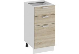 Шкаф напольный с тремя ящиками «Гранита» (Белый/Дуб сонома)
