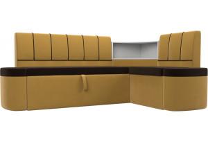 Кухонный угловой диван Тефида Коричневый/Желтый (Микровельвет)