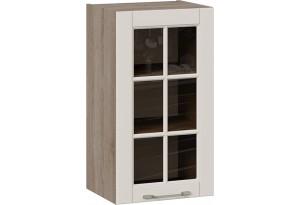 Шкаф навесной cо стеклом (СКАЙ (Бежевый софт))