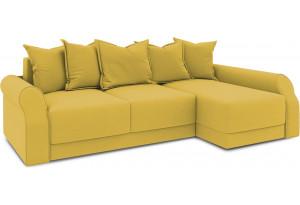 Диван угловой правый «Люксор Т2» (Poseidon Curcuma (иск.замша) желтый)