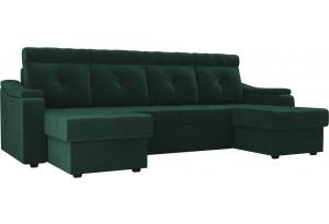 П-образный диван Джастин Зеленый (Велюр)