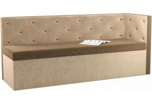 Кухонный диван Салвадор с углом Коричневый/Бежевый (Микровельвет)