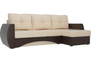 Угловой диван Сатурн бежевый/коричневый (Экокожа)