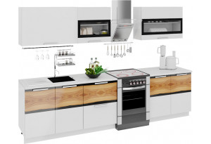 Кухонный гарнитур длиной - 300 см Фэнтези (Белый универс)/(Вуд)