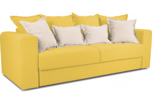 Диван «Раймонд» Maserati 11 (велюр) желтый, подушка Miami 01 (рогожка), песочный
