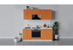 Кухонный гарнитур «Весна» длиной 200 см со шкафом НБ (Белый/Оранж глянец)