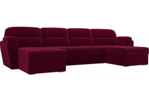 П-образный диван Бостон Бордовый (Микровельвет)