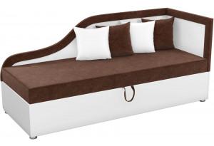 Детский диван Дюна коричневый/белый (Микровельвет)