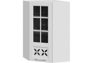 Шкаф навесной угловой c углом 45 со стеклом и декором (СКАЙ (Белоснежный софт))