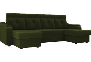 П-образный диван Джастин Зеленый (Микровельвет)