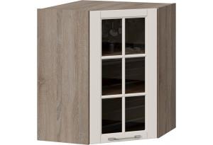 Шкаф навесной угловой с углом 45° со стеклом (СКАЙ (Бежевый софт))
