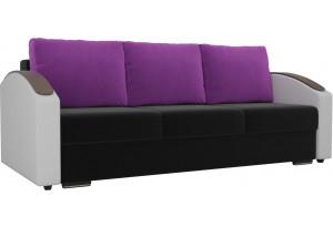 Прямой диван Монако slide Черный/Белый (Микровельвет/Экокожа)