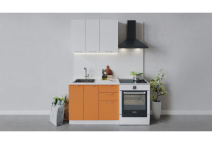 Кухонный гарнитур «Весна» длиной 100 см (Белый/Белый глянец/Оранж глянец)