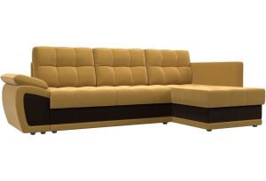 Угловой диван Нэстор прайм Желтый/коричневый (Микровельвет)