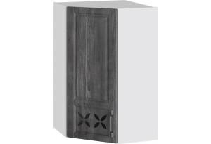 Шкаф навесной угловой c углом 45 с декором (ПРОВАНС (Белый глянец/Санторини темный))