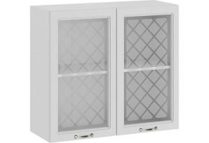 Шкаф навесной c двумя дверями со стеклом «Бьянка» (Белый/Дуб белый)