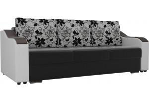 Прямой диван Монако Черный/Белый (Экокожа)