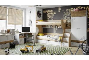 Набор детской мебели «Оксфорд» №1 Ривьера/Белый с рисунком