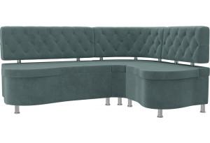 Кухонный угловой диван Вегас бирюзовый (Велюр)