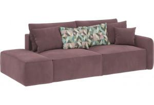 Модульный диван Портленд вариант №2 розово-серый (Велюр, правый)