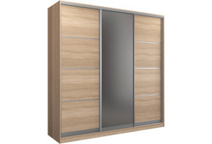 Шкаф-купе трехдверный Манхеттен 240 см (сонома+зеркало)