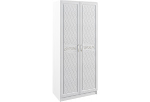 Шкаф распашной двухдверный Диамант вариант №1 (белый)