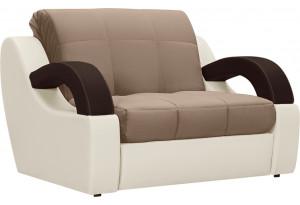 Кресло тканевое Мадрид коричневый (Велюр + Экокожа)