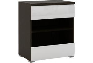Шкаф распашной однодверный Верона Люкс вариант №1 со стеклом (венге/белый глянец)