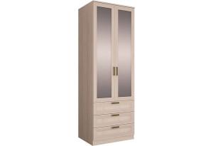 Шкаф распашной двухдверный Триполи вариант №2 (зеркало/ясень светлый)