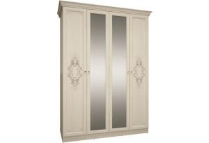 Шкаф распашной 4-х дверный Кота (молочный/кремовый/зеркало)