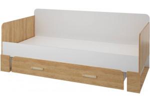 Кровать односпальная 200х90 Мегаполис без подъёмного механизма (бело-серый/дуб небраска)