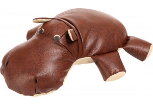 Декоративная подушка Бегемот Коричневый (Кожаное изделие)