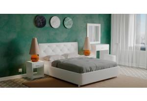 Мягкая кровать 200х140 Малибу вариант №2 с ортопедическим основанием (Белый)