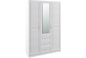 Шкаф распашной трехдверный Диамант вариант №1 (белый)