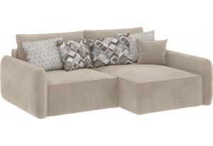 Модульный диван Портленд вариант №4 светло-бежевый (Вел-флок, правый)