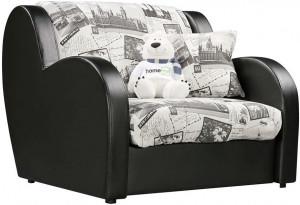Кресло тканевое Барон серый (Жаккард + Экокожа)