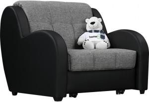 Кресло тканевое Барон серый (Рогожка + Экокожа)