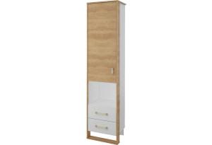 Шкаф распашной однодверный Мегаполис с ящиками (бело-серый/дуб небраска)