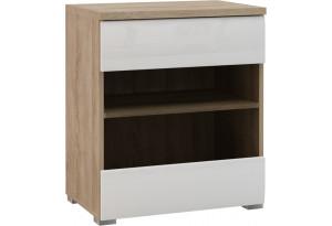 Шкаф распашной однодверный Верона Люкс вариант №1 со стеклом (дуб сонома/белый глянец)