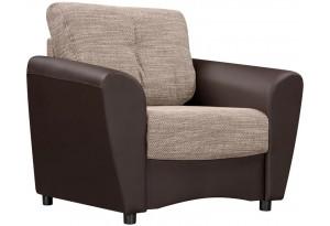 Кресло тканевое Амстердам коричневый (Рогожка + Экокожа)